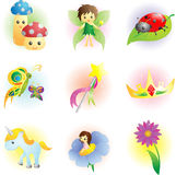 Fantasy fairy icons Stock Photos