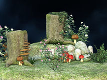 Fantasy fairy mushroom garden Royalty Free Stock Image