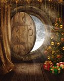 Fantasy fairy room 2. Fantasy fairy room with a Christmas tree and presents Royalty Free Stock Images