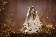 Beauty in the forest. Fantasy Fairy Tale Forest , young woman posing as nymph Royalty Free Stock Photo