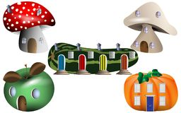 Fantasy Fairy-tale Homes in Nature. Vector Illustration of houses made in vegetables for fairy-tale stories . Mushroom, apple, pumpkin and marrow homes for a Royalty Free Stock Image