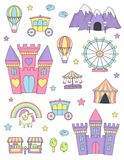 Princess castle isolated design elements. Fantasy fairy tale world princess castle items and design elements collection. Dragon cave, coach, unicorn rainbow Royalty Free Stock Photos