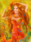 Fantasy fairy woman  Beautiful Autumn Stock Photos