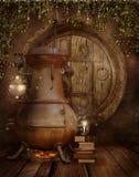 Fantasy fairy workshop stock illustration