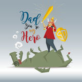 Fantasy Father`s Day Concept Father and son help conquer the dra. Gon, vector illustrations Stock Images