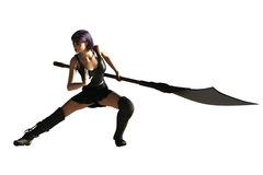 Fantasy female ninja with glaive. Sexy fantasy female in fighting posture with long handled bladed weapon Stock Images