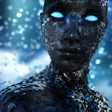 Fantasy Female Portrait. A futuristic science fiction type of stylized portrait of a female figure with fine out of focus background and a metallic shell coming Royalty Free Stock Photo