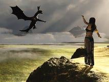 Fantasy female summoning dragon Royalty Free Stock Images