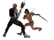 Fantasy female warrior faces goblin Stock Photography