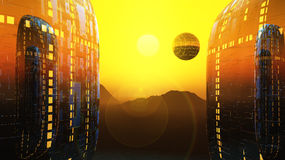 Fantasy fiction city sun. A sunrise between to alien science fiction dwellings and floating city Stock Photography
