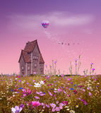 Fantasy field. With flowers, a small house, balloon and pink sky. 3D rendering Stock Photography