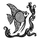 Fantasy Fish. Doodle Fantasy Hand Drawn Fish. Adult Anti Stress Coloring Page. Sketch for Tattoo, Poster, Print Stock Image