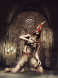 Fantasy flagellant in a chapel Stock Photo
