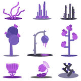Fantasy flat set plants. Stock Photography