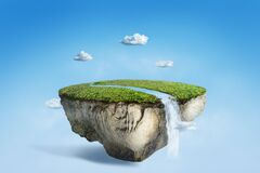 Free Fantasy Floating Island With River Stream On Green Grass Stock Photos - 179170433