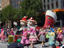 Fantasy floats ` Christmas Fairy Elves ` perform in the 2018 Credit Union Christmas Pageant parade. ADELAIDE, SOUTH AUSTRALIA. - On November 10, 2018. – stock photos