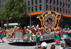 Fantasy floats ` Counting Down to Christmas ` perform in the 2018 Credit Union Christmas Pageant parade. ADELAIDE, SOUTH AUSTRALIA. - On November 10, 2018 royalty free stock photo