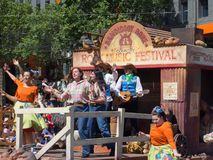 Fantasy floats ` Country rock music festival ` perform in the 2018 Credit Union Christmas Pageant parade. ADELAIDE, SOUTH AUSTRALIA. - On November 10, 2018 royalty free stock photography