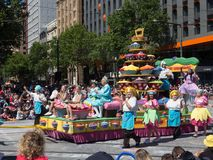 Fantasy floats ` Cupcake Christmas ` perform in the 2018 Credit Union Christmas Pageant parade. ADELAIDE, SOUTH AUSTRALIA. - On November 10, 2018. – stock images