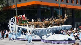 Fantasy floats ` Father Christmas ` perform in the 2018 Credit Union Christmas Pageant parade. ADELAIDE, SOUTH AUSTRALIA. - On November 10, 2018. – stock images