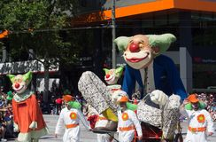 Fantasy floats ` Giant clowns sculpture ` perform in the 2018 Credit Union Christmas Pageant parade. ADELAIDE, SOUTH AUSTRALIA. - On November 10, 2018 royalty free stock photos