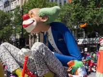 Fantasy floats ` Giant clowns sculpture ` perform in the 2018 Credit Union Christmas Pageant parade. ADELAIDE, SOUTH AUSTRALIA. - On November 10, 2018 stock photography