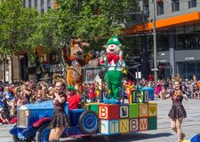 Fantasy floats ` Jolly & Jingles ` perform in the 2018 Credit Union Christmas Pageant parade. ADELAIDE, SOUTH AUSTRALIA. - On November 10, 2018. – royalty free stock photography