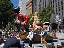Fantasy floats ` Nasty Neville the Pirate King ` perform in the 2018 Credit Union Christmas Pageant parade. ADELAIDE, SOUTH AUSTRALIA. - On November 10, 2018 stock image