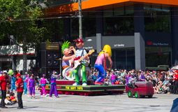Fantasy floats ` The soft toy colorful rock band ` perform in the 2018 Credit Union Christmas Pageant parade. ADELAIDE, SOUTH AUSTRALIA. - On November 10, 2018 royalty free stock images