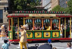 Fantasy floats ` Tram ` perform in the 2018 Credit Union Christmas Pageant parade. ADELAIDE, SOUTH AUSTRALIA. - On November 10, 2018. – Fantasy floats ` royalty free stock photos