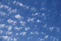 Fantasy Flock Of Clouds Taking The Shape Of Fish Swims Across The Sky Royalty Free Stock Photography