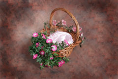 Fantasy Floral Basket Photographer Studio Set (Insert Isolated Client) Royalty Free Stock Photography
