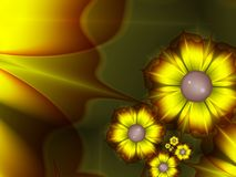 Fantasy floral image, backgroung for inserting text. Yellow flower. Fractal image, digital artwork for creative graphic design, template for inserting text Royalty Free Stock Photos