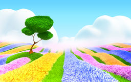 Fantasy floral landscape. Colorful field of flowers, a tree and a light haze. Fantasy cartoon 3d landscape Stock Images