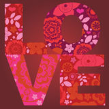 Fantasy floral ornamental love message  poster Royalty Free Stock Photo