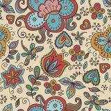 Fantasy floral seamless pattern. Fantasy  hand drawn flowers vector seamless pattern. Made in clear and cheerful tones Stock Images