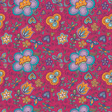 Fantasy floral seamless pattern. Fantasy  hand drawn flowers vector seamless pattern. Made in cheerful  pink, yellow, motton blue and lilac tones Royalty Free Stock Photo