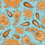 Fantasy floral seamless pattern. Fantasy  hand drawn flowers vector seamless pattern. Made in turquoise and light orange tones Royalty Free Stock Images
