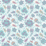 Fantasy floral seamless pattern. Floral and paisley elements fantasy seamless pattern in pastel tones. Vector seamless pattern Royalty Free Stock Photo