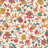 Fantasy floral seamless pattern. Fantasy  hand drawn flowers vector seamless pattern. Made in clear and cheerful tones Stock Photography