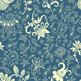 Fantasy floral seamless pattern. Fantasy stylized flowers hand drawn vector seamless pattern Royalty Free Stock Photos