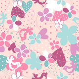 Fantasy floral seamless pattern. Fantasy  hand drawn flowers, hearts and birds  vector seamless pattern. Made in clear and cheerful tones Royalty Free Stock Photo