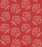 Fantasy floral seamless pattern with ethnic style hand drawn leaf elements, white on deep red, vector illustration Stock Photography