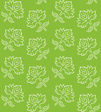 Fantasy floral seamless pattern with ethnic style hand drawn leaf elements, white on green, vector illustration Royalty Free Stock Image