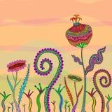 Fantasy Flower. And Singular Grass stock illustration
