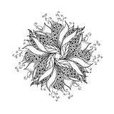 Fantasy flower, black and white tattoo pattern Stock Photo