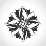 Fantasy flower, black and white tattoo pattern Royalty Free Stock Image