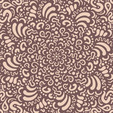 Fantasy flower hand drawn beige pattern Royalty Free Stock Images