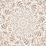 Fantasy flower hand drawn brown pattern Royalty Free Stock Photo