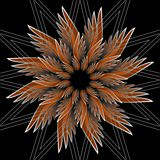 Fantasy flower shape with 3d effect. Orange star shape on black background. Vector in fractal style. Royalty Free Stock Photography